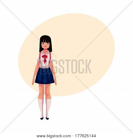 Japanese teenage schoolgirl in typical uniform wearing short skirt and red bow tie, cartoon vector illustration with place for text. Full length portrait of typical Japanese schoolgirl