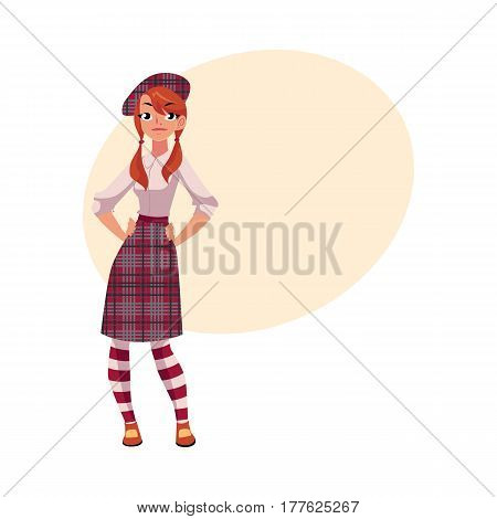 Youn girl in traditional Scottish clothes, tartan beret and kilt, cartoon vector illustration with place for text. Full length portrait of Scottish woman, young girl in tartan, plaid and kilt