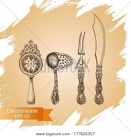 Vector Illustration Sketch - Tableware. Dinnerware