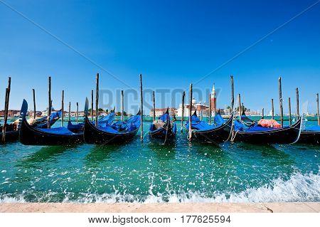 Gondolas in Venice on Grand canal. Italy.