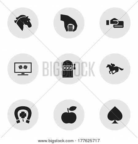 Set Of 9 Editable Game Icons. Includes Symbols Such As Backgammon, Cash, Jackpot And More. Can Be Used For Web, Mobile, UI And Infographic Design.