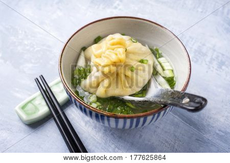 Traditional Caucasian Manti as close-up in a Soup