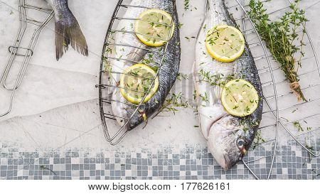 Freshly Caught Whole Sea Bream With Lemon And Herbs
