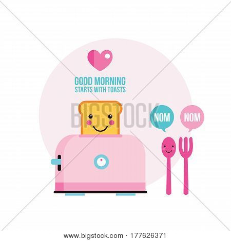Toaster Funny toasted bread Fork and Spoon with cute smile Cartoon character