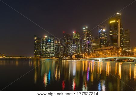 SINGAPORE, FEBRUARY 10 2017 : Singapore skyline and view of the financial district, Singapore on February 10 2017