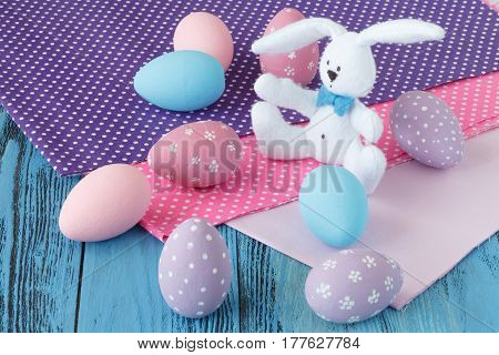 Easter Celebration With Colored Eggs And Festive Cloth