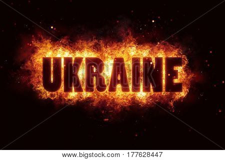 ukraine war text on fire flames explosion burning explode