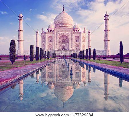 Taj Mahal in sunrise light Agra India