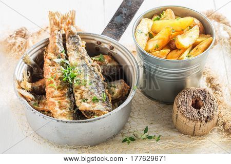 Tasty Roasted Herring Fish With Herbs And Salt