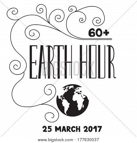 Vector hand drawn lettering, black on white background. Retro style calligraphy for Earth hour. For greeting card, logo, badge, print, poster, party design.