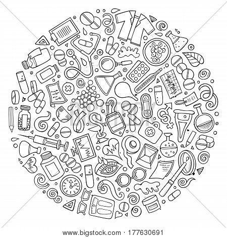 Line art vector hand drawn set of Medical cartoon doodle objects, symbols and items. Round composition