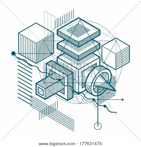 Abstract vector background with isometric lines and shapes. Cubes hexagons squares rectangles and different abstract elements.