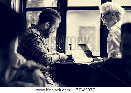Man Woman Sit Use Laptop Together Cafe