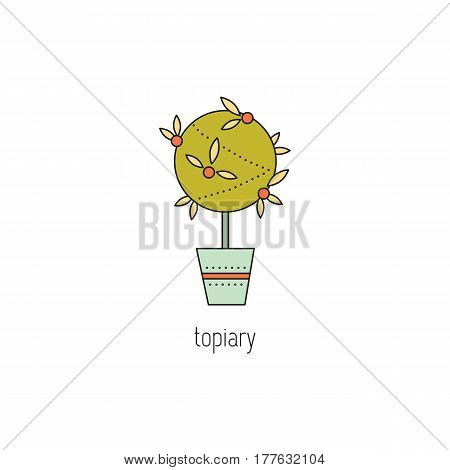 Topiary vector thin line icon. Handmade tree of happiness. Colored isolated symbol. Logo template, element for business card or workshop announcement. Simple mono linear modern design.