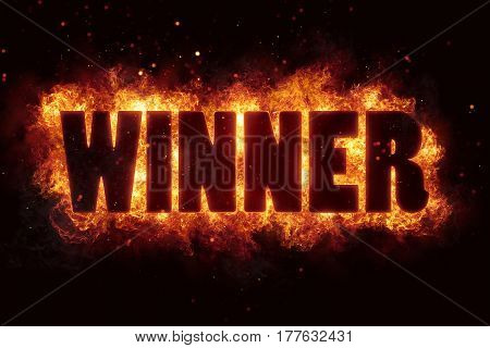 win winner game fire burn flame text is explode explosion