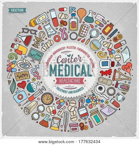 Colorful vector hand drawn set of Medical cartoon doodle objects, symbols and items. Round frame composition