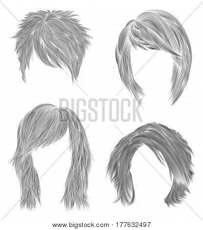 set short and Medium woman hairs  . black  pencil  drawing sketch . women fashion beauty style.   fringe curls cascade Disheveled care.