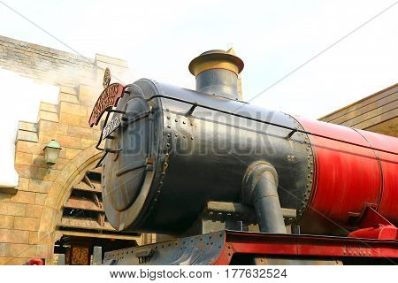 OSAKA , JAPAN - MAR 20 : The hogwarts express train at the Wizarding World of Harry Potter in Universal Studios Japan, a theme park in Osaka, Japan on Mar 20 2017.