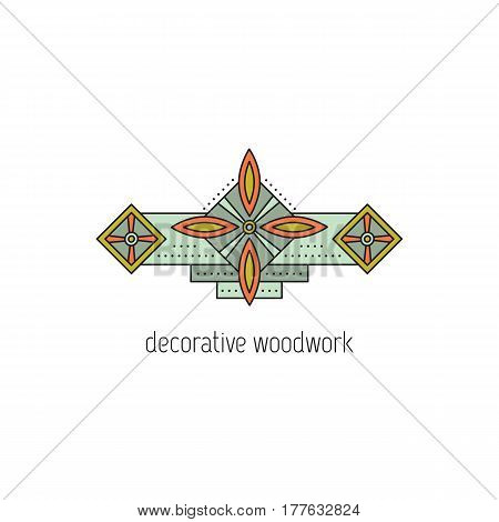 Decorative woodwork vector thin line icon. Wooden molding. Isolated symbol. Logo template, element for business card or workshop announcement. Simple mono linear modern design.
