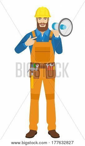 Worker pointing on the loudspeaker. Full length portrait of worker in a flat style. Vector illustration.