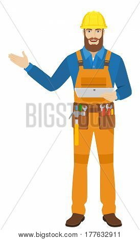 Worker holding digital tablet PC and showing something beside of him. Full length portrait of worker in a flat style. Vector illustration.