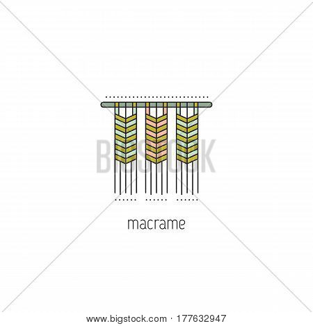 Macrame vector thin line icon. A form of textile-making using knotting. Isolated symbol. Logo template, element for business card or workshop announcement. Simple mono linear modern design.