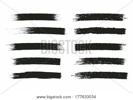 Set of black paint, ink brush strokes, brushes, lines. Grunge style artistic design elements. Vector illustration.