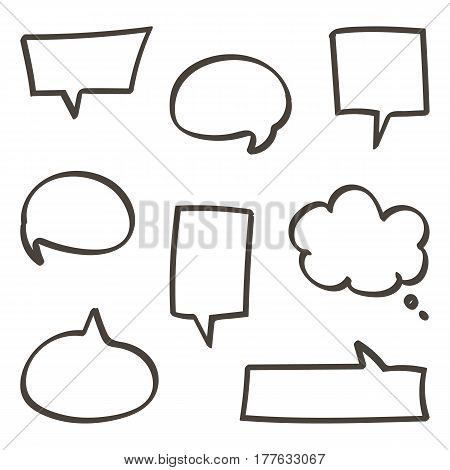 Set of doodle, hand drawn speech bubbles set isolated on white background.