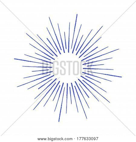 Linear drawing of rays of the sun by ink. Sun burst vector illustration.