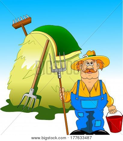 Illustration of a farmer with a pitchfork in his hand against the background of haystacks