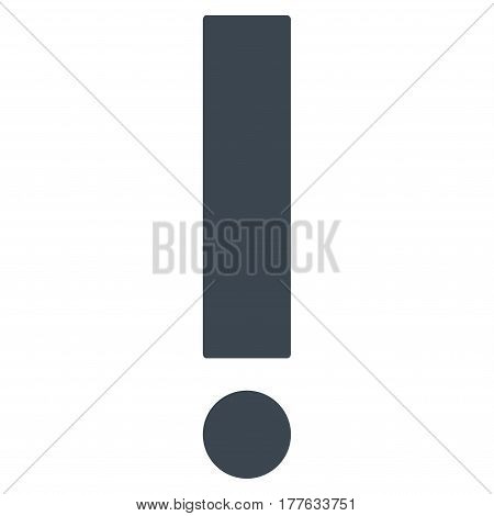Exclamation Sign vector icon. Flat smooth blue symbol. Pictogram is isolated on a white background. Designed for web and software interfaces.