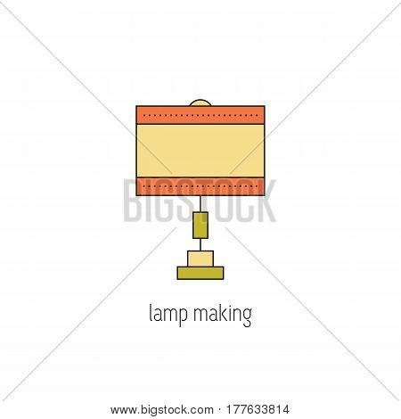 Lamp making vector thin line icon. Handmade decorated table lamp. Isolated symbol. Logo template, element for business card or workshop announcement. Simple mono linear modern design.