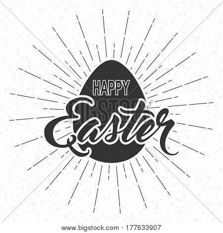 Greeting card template with Easter egg and handwritten inscription Happy Easter. Isolated on white vector illustration.