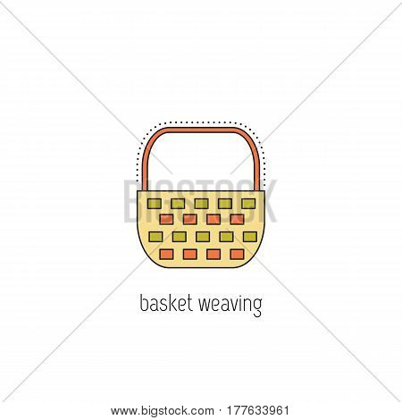 Basket weaving vector thin line icon. Isolated symbol. Logo template, element for business card or workshop announcement. Simple mono linear modern design.