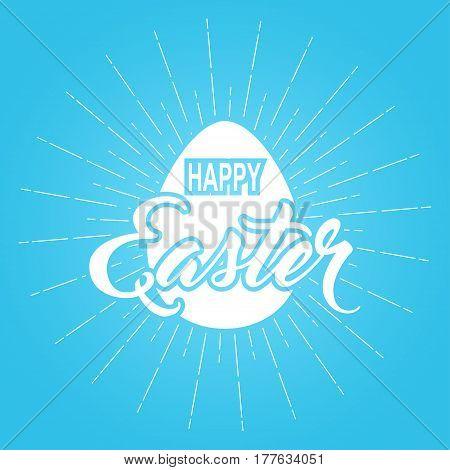 Easter egg and handwritten inscription Happy Easter background. Vector illustration.