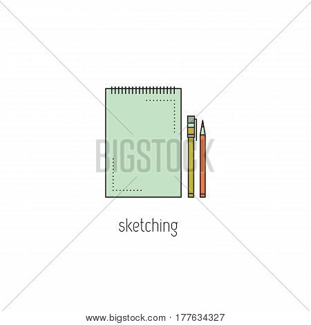 Sketching vector thin line icon. Notepad, pencil and marker. Colored isolated symbol. Logo template, element for business card or workshop announcement. Simple mono linear modern design.