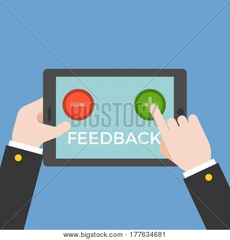 Business hand vote between positive and negative by touching button on tablet screen, customer feedback online concept