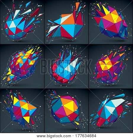 Set of 3d vector low poly objects with white connected lines and dots. Colorful wireframe damaged shapes with triangular fragments. Lattice perspective shattered forms collection explosion effect.