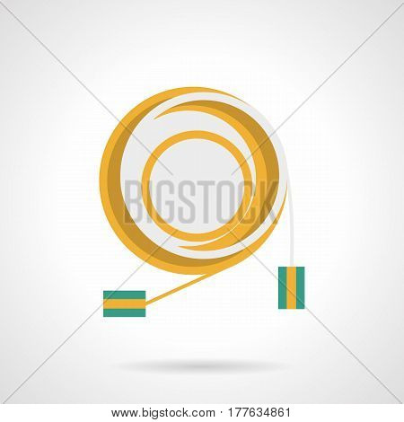 Yellow connection cord for sound equipment. Accessories and components for event organization. Flat color style vector icon.