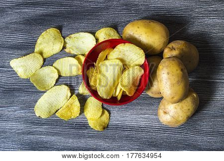 Potato and potato products, fried potato slices, fried serrated potato slices, fried potato chips