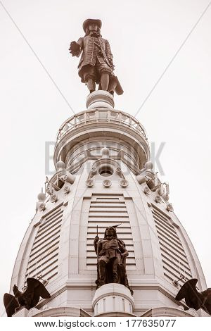 William Penn statue on the tower of the Philadelphia City Hall building