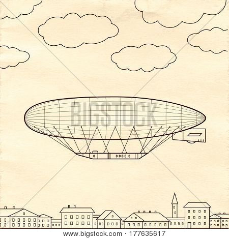 Airship isolated on old paper background. Zeppelin symbol.