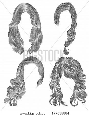 set long woman hairs  . black  pencil drawing sketch .  women fashion beauty style.  fringe curls cascade  plait.