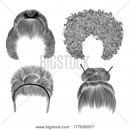 set of  different funny women hairs .  fringe  pencil drawing sketch . japanese hairstile bun  with barrette .   national  fashion beauty  style . african curls hairstyle. retro hairdres barrette.