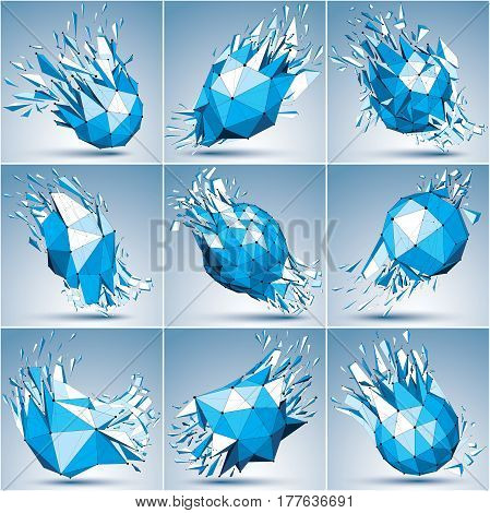 Collection of 3d faceted blue cybernetic figures connected black lines and dots. Vector low poly shattered design elements with fragments and particles. Explosion effect communication technology.