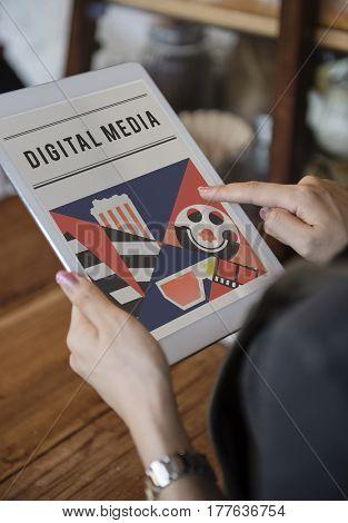 Woman enjoy movies theater media entertainment on digital tablet