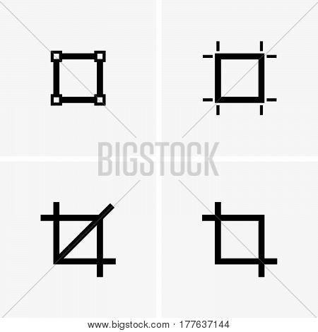 Set of four crop signs on grey background
