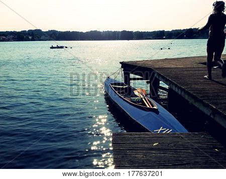 lake and boats in summer in brandenburg germany