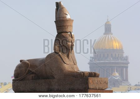 Sphinx.Saint-Petersburg.Russia.Historical and architectural sights of the middle ages in a European city.