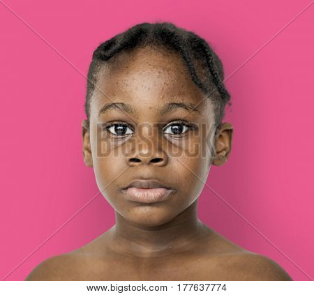 African kid portrait shoot with staring face